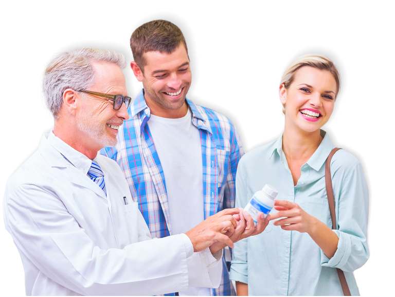 pharmacist and adult couple smiling