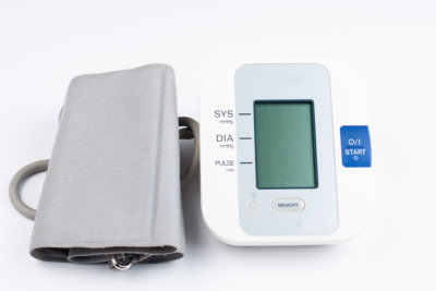 Blood pressure monitor isolated on white background. Medical equipment.Copy space.